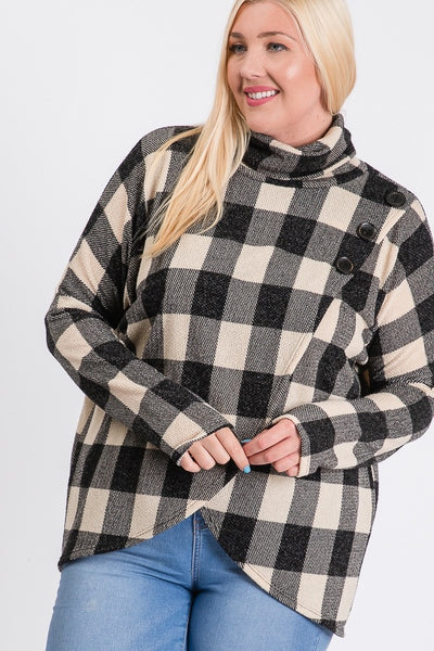 Buffalo Plaid Button Detail Cowl Neck Sweater Top