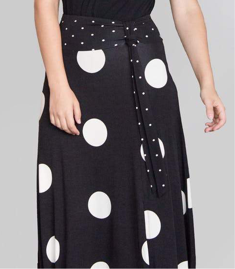 Wrap Maxi Skirt Polka Dot