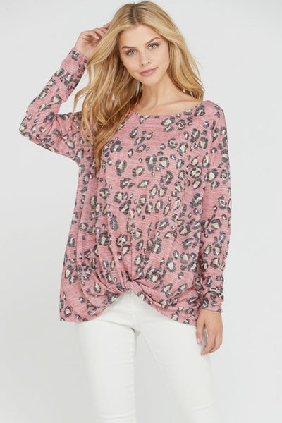 Long Sleeve Animal Print Twist Top