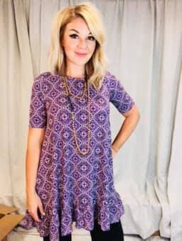 Ruffle Tunic Purple Boho