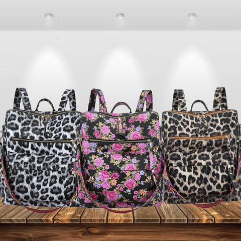 Leather Backpack Floral Or Leopard w/ Shoulder Strap