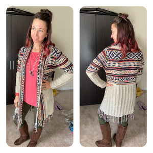 Patterned Knitted Tassel Sweater Cardigan