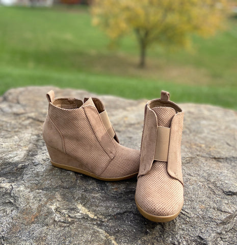 Taupe Suede Bootie Wedge