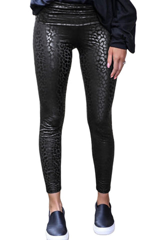 Black Shiny Leopard Textured Legging