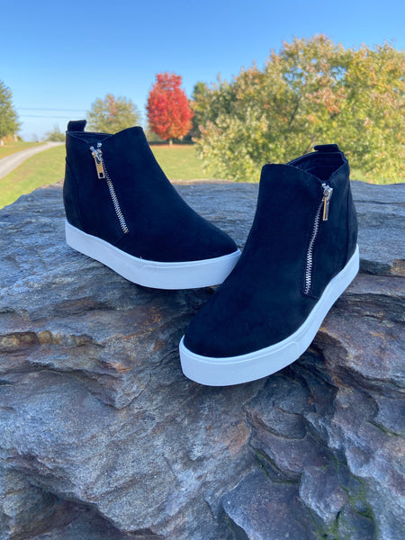 Soda Black Double Zip Suede Wedge Booties