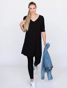 Solid Black Love Tunic