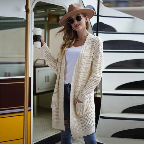 Cream Oversize Solid Waffle Knit Cardigan Sweater