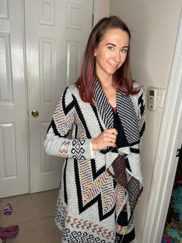 Grey Aztec Patterned Open Blanket Cardigan Sweater
