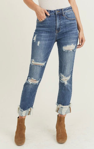 Risen Distressed Turn Back Cuff Straight Leg Jeans