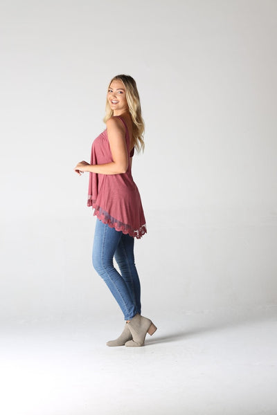 V Neck Lace Hem Tank Rose