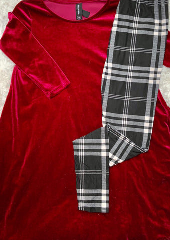 Black and White Plaid Buttery Soft Holiday Legging OS and Plus