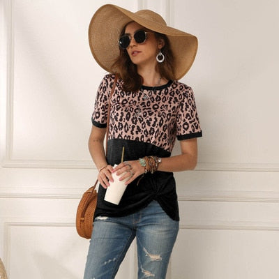 Leopard Short Sleeve Side Knot Top Black