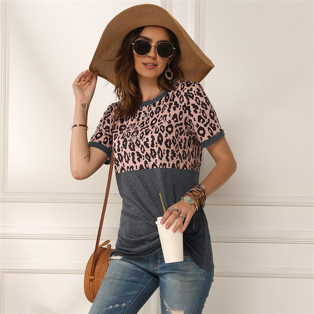 Leopard Short Sleeve Side Knot Top Gray
