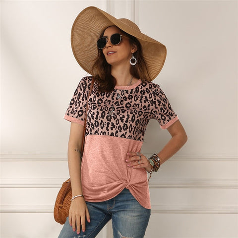 Leopard Short Sleeve Side Knot Top Pink