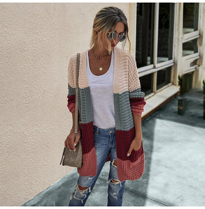 Color Block Oversize Solid Waffle Knit Cardigan Sweater
