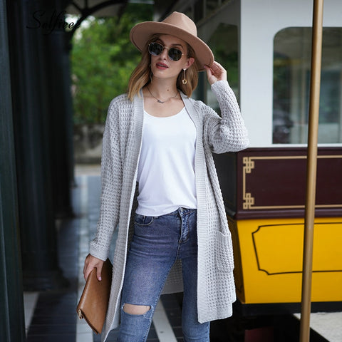 Grey Oversize Solid Waffle Knit Cardigan Sweater