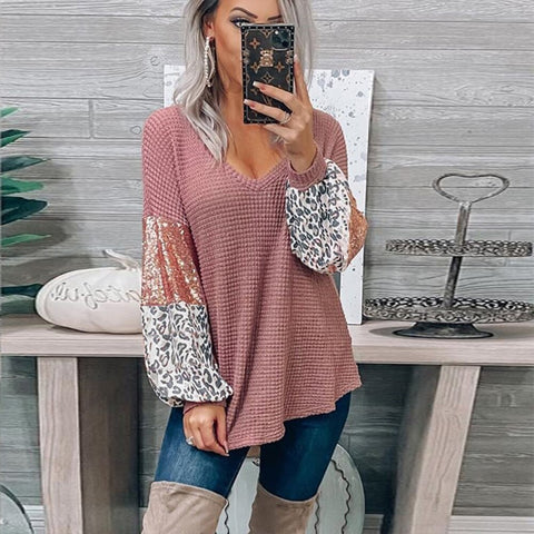 Waffle Patchwork Sequin Sleeve Long Sleeve Top