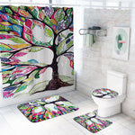Tree Pattern Prints Bathroom Shower Curtain Non Slip Toilet Lid Cover Rugs Mat