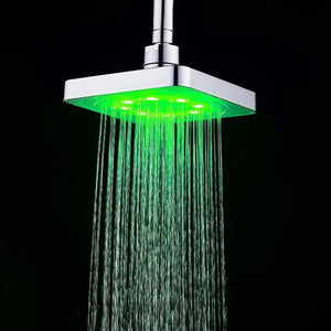 360° Adjustable 6 Inch LED Light Square Rain Shower Head Stainless Steel 3 Color Changing Temperature Control Bathroom Showerhead