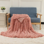 160x200cm/130x160cm MECO Large Luxury Shaggy Blankets With Heart Carpet Faux Fur Long Pile Throw Sofa Bed Soft Warm Blanket Shaggy Fluffy Rug