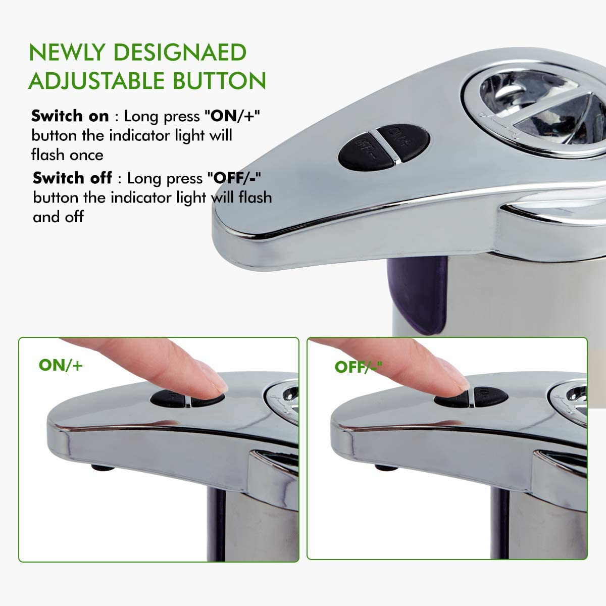 [VinJoyce] NEW 2 Buttons 250ML Automatic Stainless Steel Soap Dispenser Touchless Sensor Hand Soap Dispenser Double Switch Motion Sensor for Bathroom Kitchen Toilet Office Hotel Hospital Clinic School