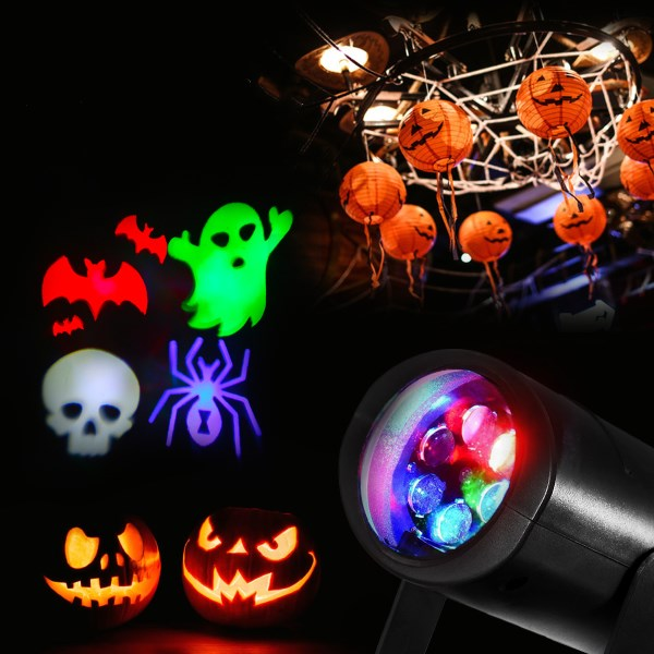 3W 4 Patterns RGB Rotating Laser Projecter LED Stage Light Halloween Christmas Party Bar Decor Lamp