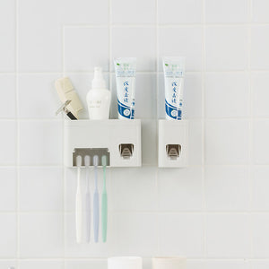 Honana BC-259 Wall Mounted Automatic Toothpaste Squeezer Dispenser With Toothbrush Holder Set Bathroom