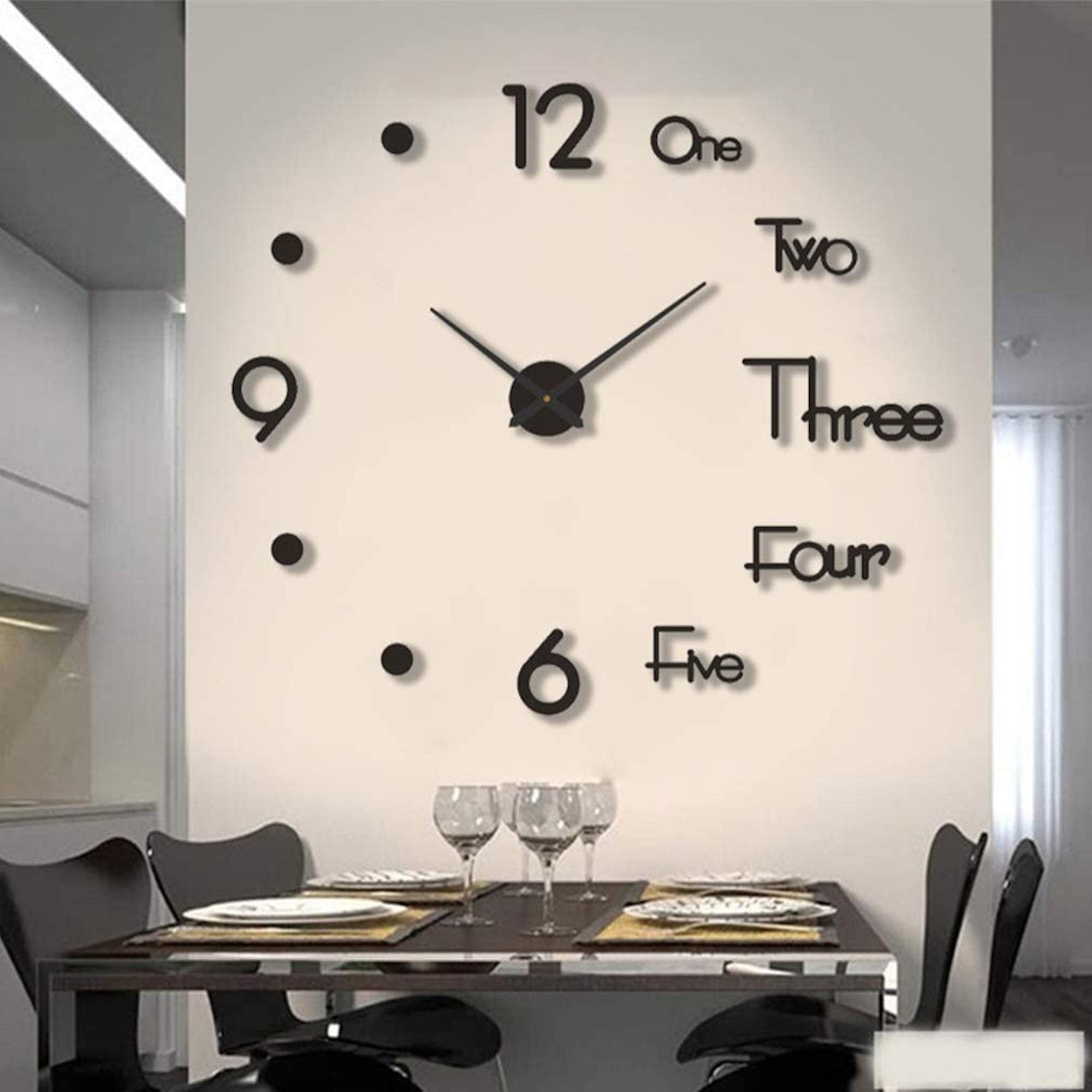 VinJoyce LARGE 3D DIY Wall Clock, Large Wall Clocks for Living Room Decor, Silent, Modern Wall Clock for Kitchen, Office, School, Home, Bedroom, Living Room Decor