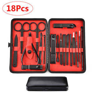 18 Pcs Stainless Steel Personal Manicure Set Pedicure Travel Grooming Kit Nail