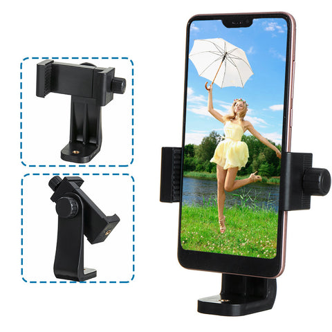 Universal 360 Degree Rotating Cell Phone Holder Clip with 1/4 inch Screw Holes Fit Tripod Monopod Selfie Youtube Live Streaming Stick for Mobile Phone 4-6.8 inch