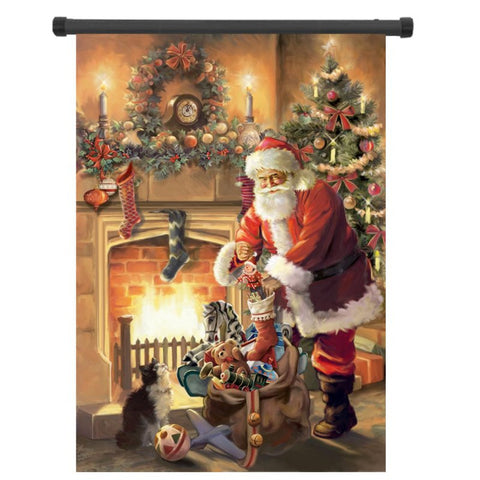 30x45cm Christmas Polyester Santa Claus Welcome Flag Garden Holiday Decoration