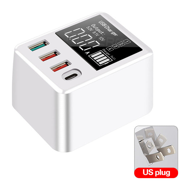 Bakeey 30W 4-Port USB Charger 18W USB-C PD3.0 Power Delivery QC3.0 Quick Charge Digital Display USB Charging Station For iPhone 11 SE 2020 For Samsung Galaxy Note 20