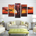 5Pcs Elephant Wall Decorative Paintings Canvas Print Art Pictures Frameless Wall Hanging Decor for Home Office