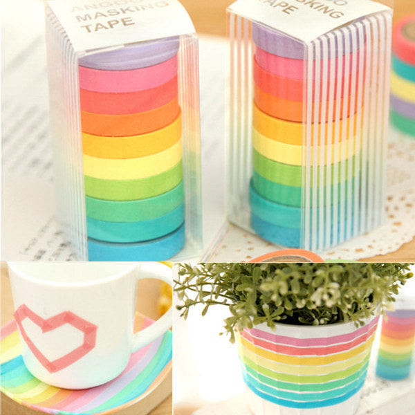 10 Rolls Rainbow Paper Tapes Adhesive Stickers Candy Color Decorative Tapes Stationery For Scrapbook