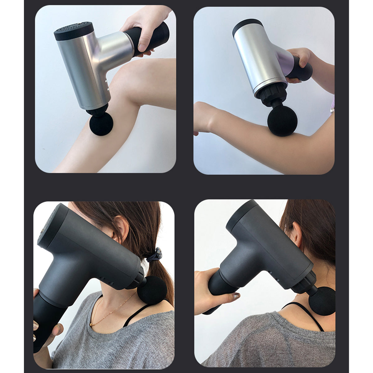 Electric Percussion Massager 4 Levels Athlete Muscle Deep Tissue Vibrating Relaxing Therapy Device with 4 Massager Heads