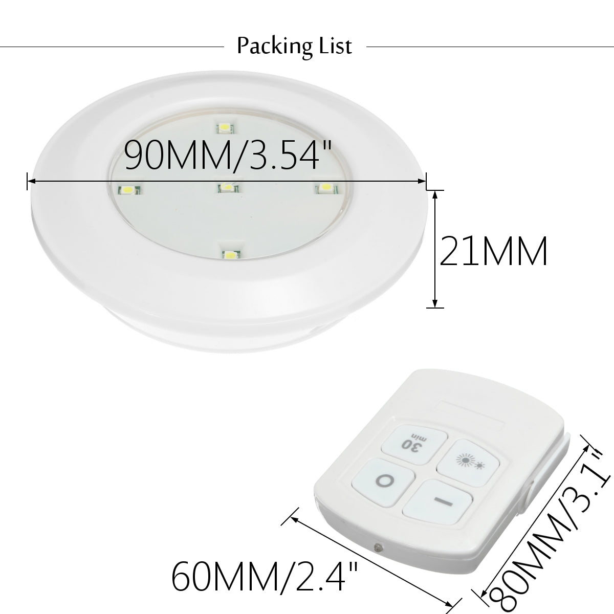 6PCS LED Wireless Cabinet Light Kitchen Counter Under Touch Closets Lighting Puck Lamp with Remote Control