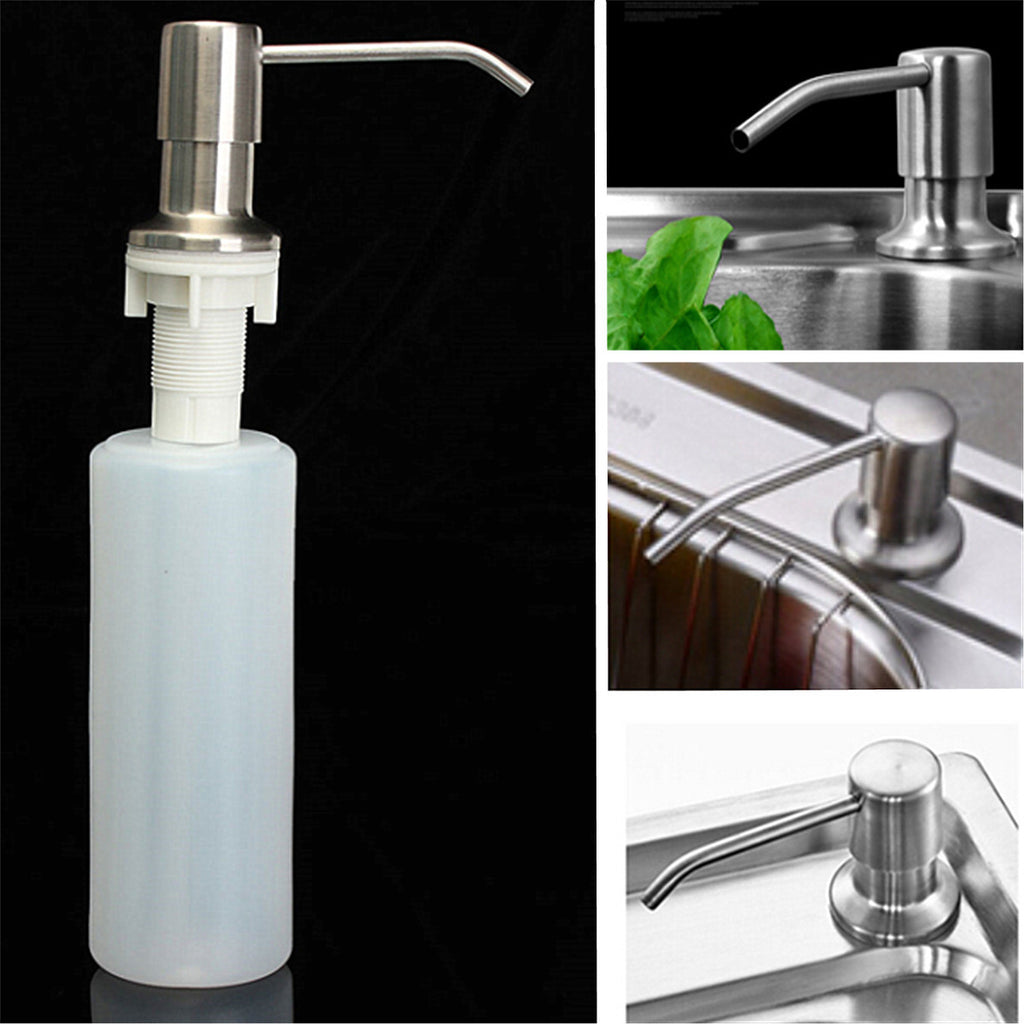 350ML Kitchen Bathroom Sink Liquid Soap Dispenser Brushed Nickel Head