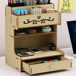 Wooden Desk Organizer Multi-Functional DIY Pen Holder Box Cell Phone Holder Desktop Stationary Home Office Supplies Storage Rack with Drawer