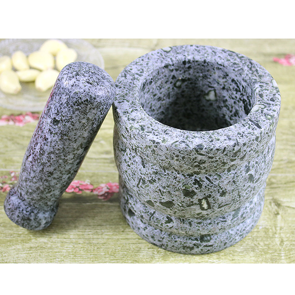 Natural Granite Pestle & Mortar Set Herbs and Spices Grinder