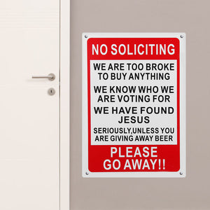 25x35cm Plastic Warning Sign No Soliciting Funny Sign Go Away Front Door Novelty Gift