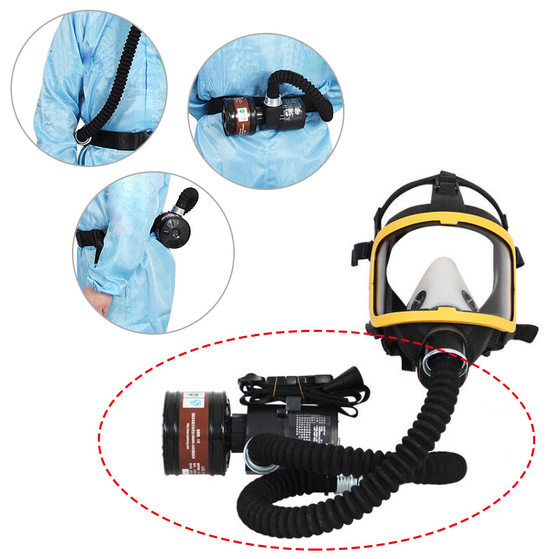Electric Flow Supplied Air Fed Pump Set Air Pump + Canister Filter + Charger for Full Face Mask