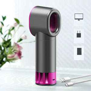 Portable Bladeless Mini Fan USB Charging Fan 7 Color Light 3 Wind Speed 2000mAh Built-in Battery