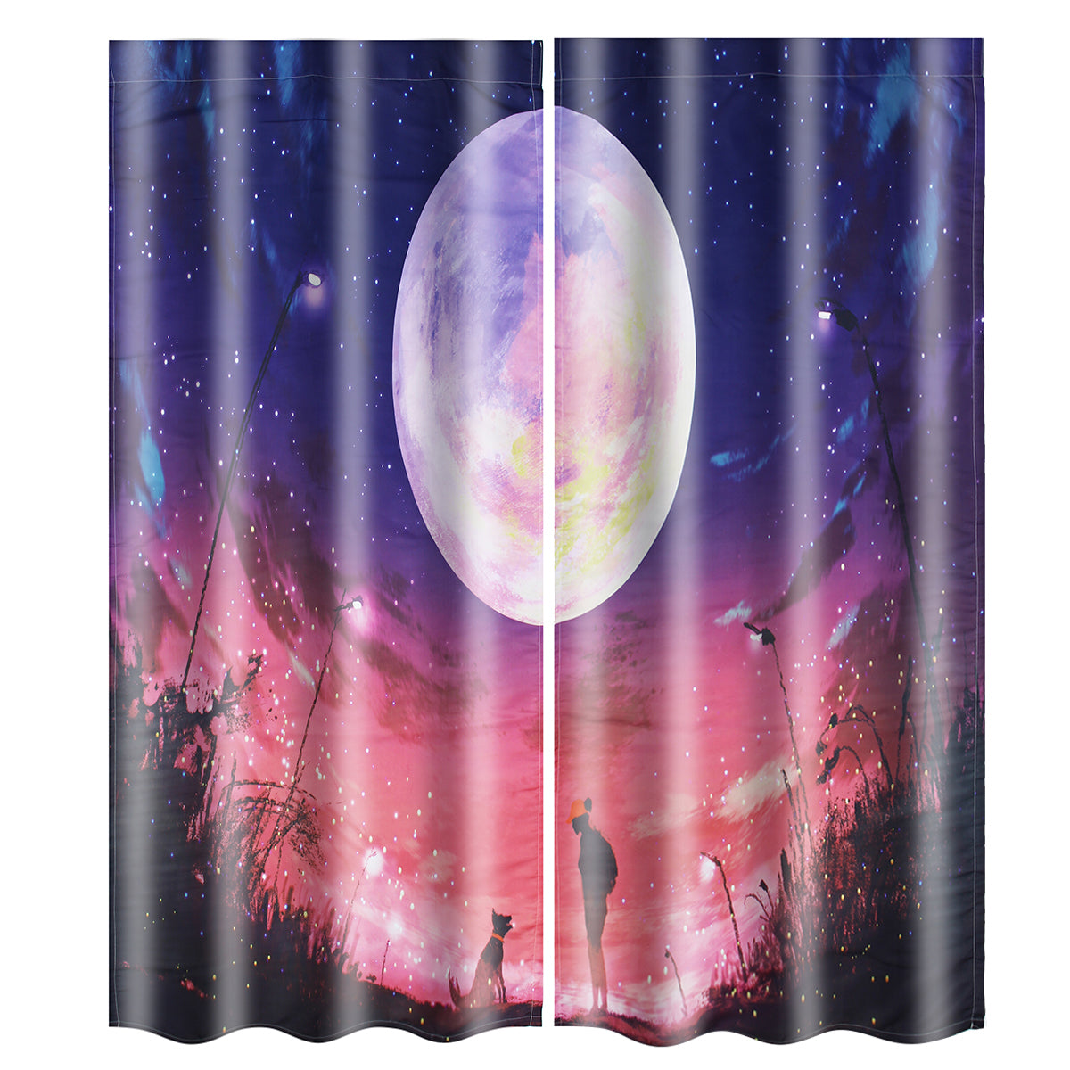 2 Panel Blackout Blinds Thermal Insulated 3D Printed Galaxy Window Curtains Screens