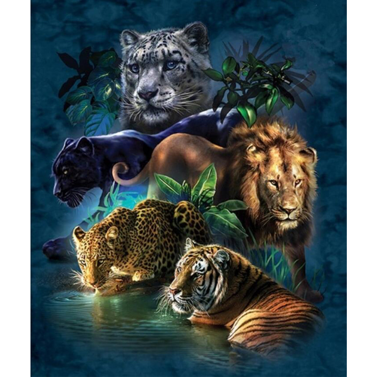 DIY 5D Diamond Paintings Tiger Lion Embroidery Cross Crafts Stitch Tool Kit