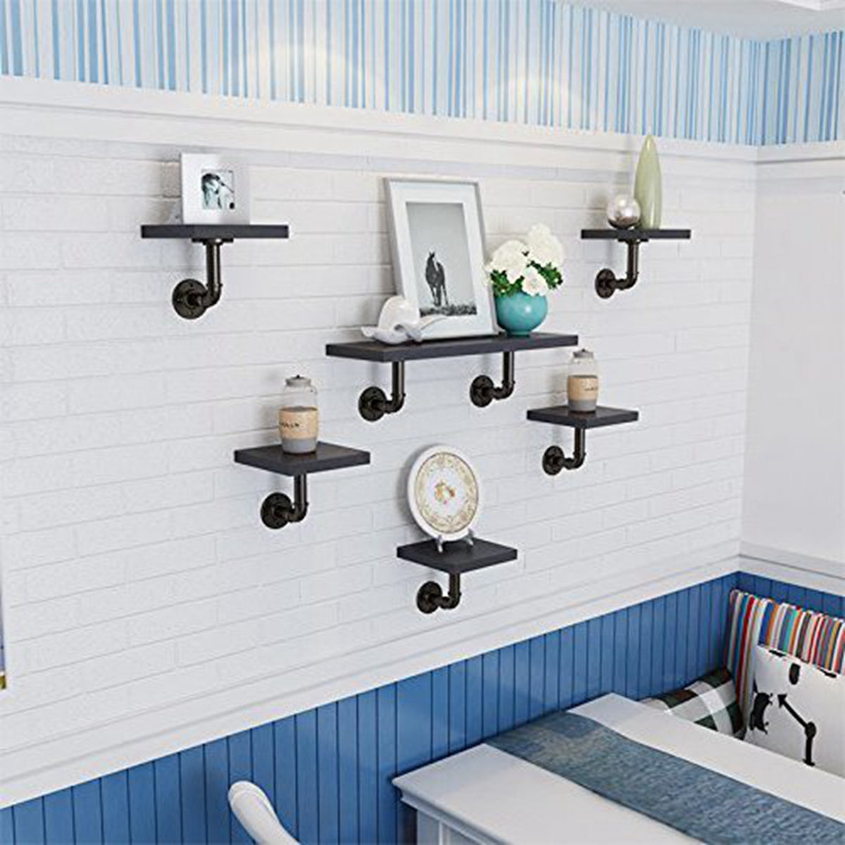 KINGSO 2pcs Household Wall Mounted Shelf Holders Flange Pipe Pipe Shelf Bracket
