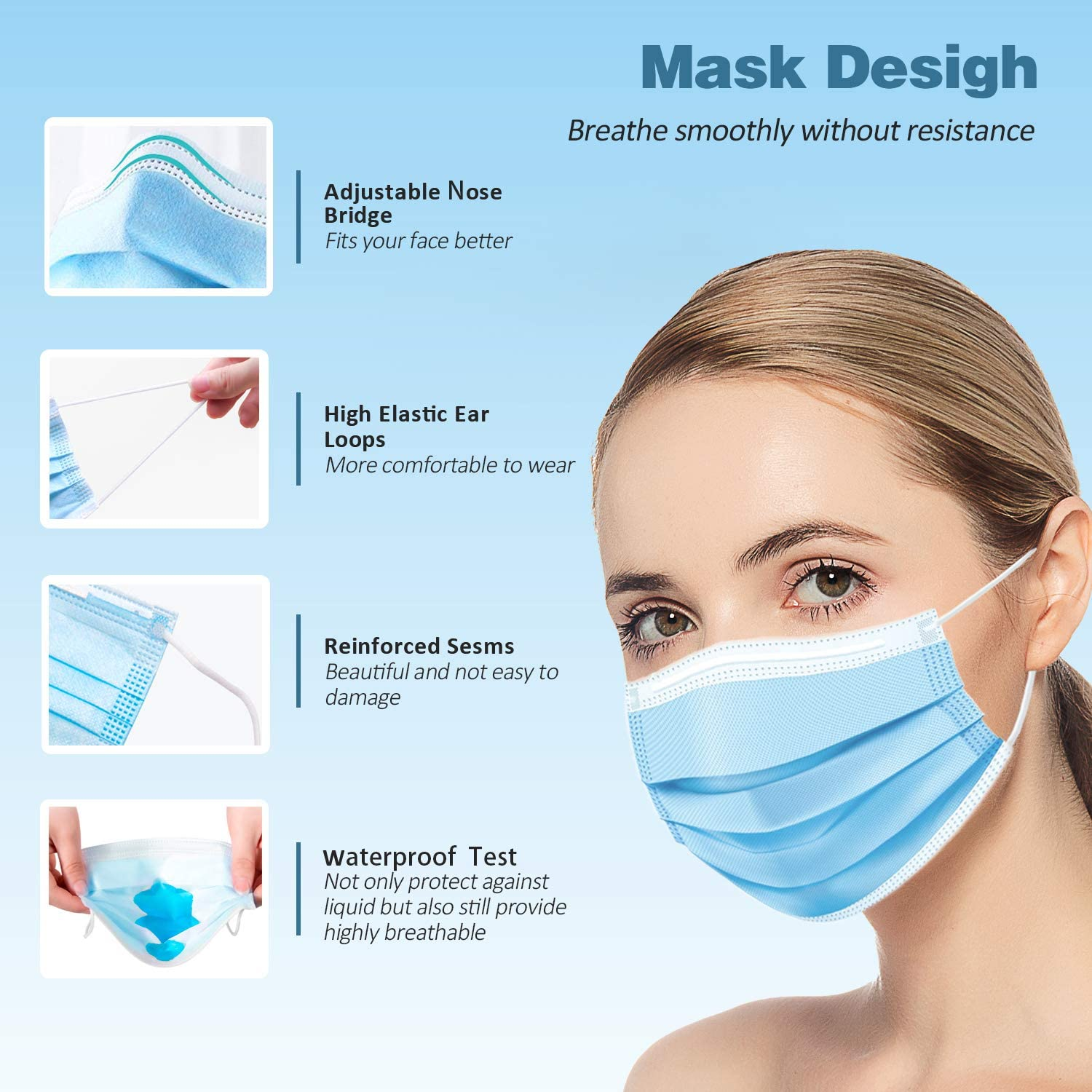FAMAPRO Disposable Face Masks 4 PLY ISO FDA Ear Loop Breathable Dust Protection Masks