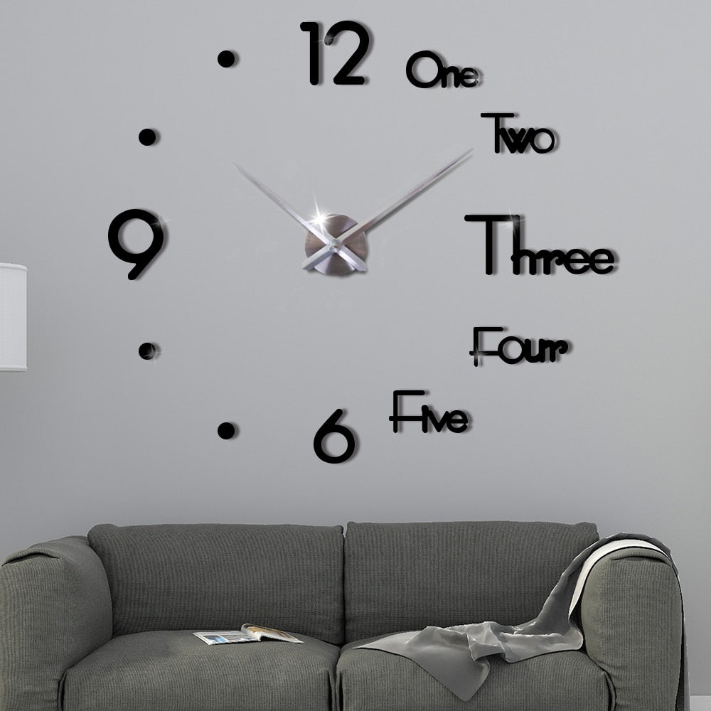 New 2020 3D DIY Large Wall Clock Modern Design Wall Sticker Clock Silent Home Decor with Mirror Stickers