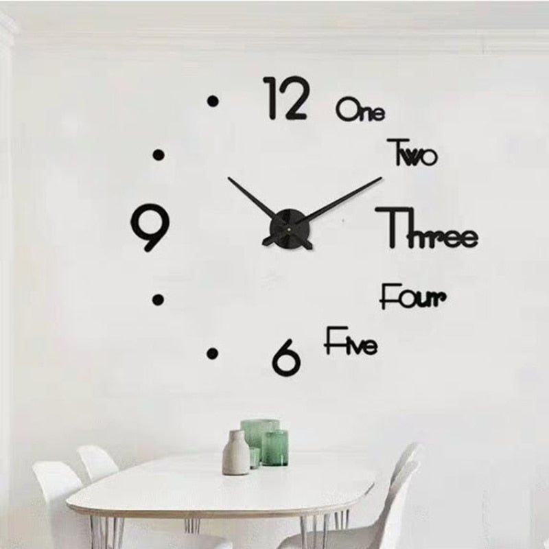 3D DIY Large Wall Clock Modern Design Silent Wall Sticker Clock Self Adhesive Wall Clocks Living Room Home Decor reloj de pared