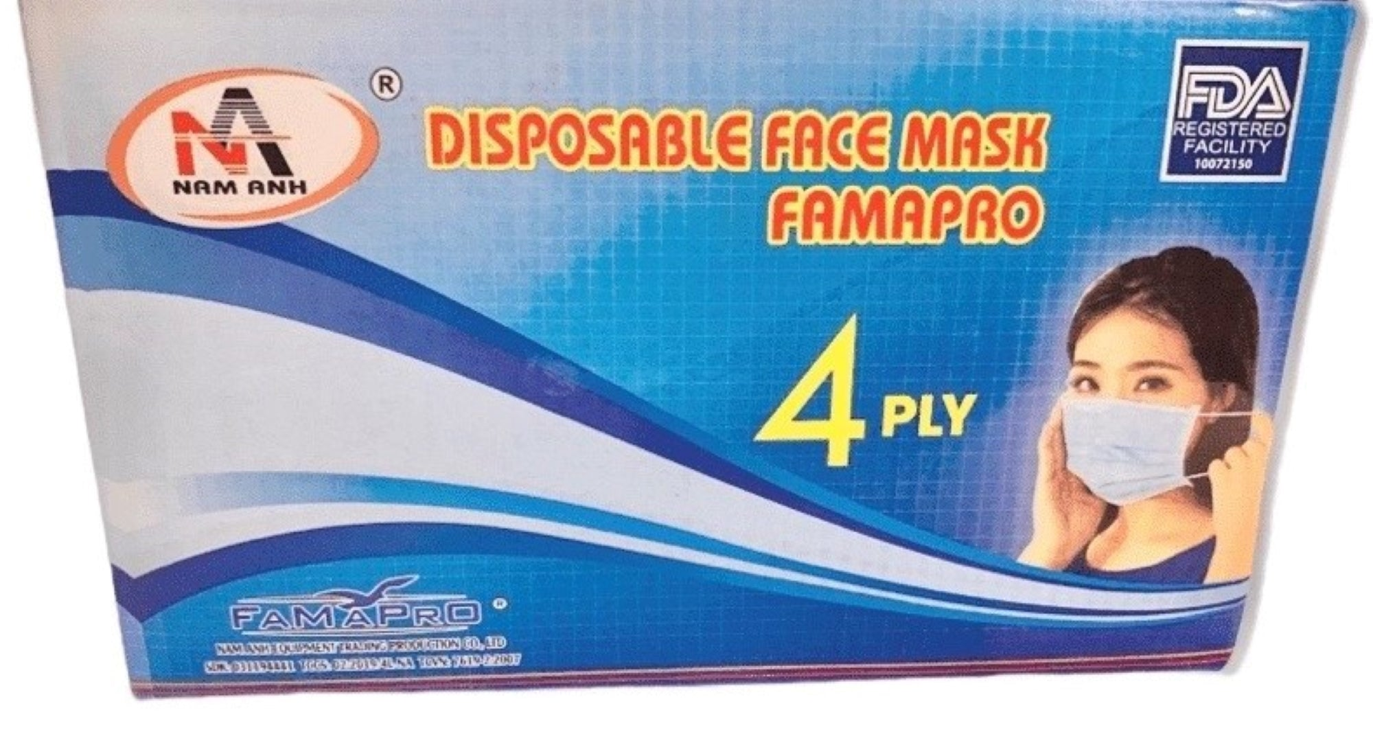 FAMAPRO-4Ply Disposable Facial Mask Thick Layers FDA Approved Non Woven Comfortable Breathable Filter Safety Masks with Adjustable Earloop, Mouth and Nose Protection Indoor and Outdoor Use (Blue-Pack of 50)