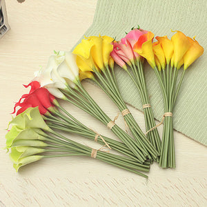 10Pcs Artificial Latex Calla Lily Flowers Wedding Flowers Bridal Bouquet